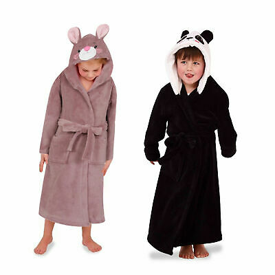 Nifty Kids Animal Hooded Bath Robes Childs Dressing Gown Soft Fleece Nightwear