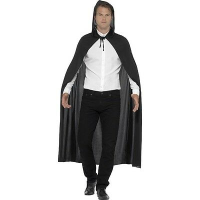 Men's Women's Black Hooded Vampire Cape & Dracula Teeth Halloween Fancy Dress
