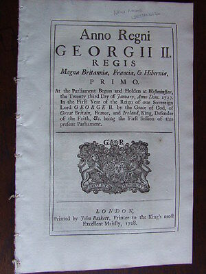 Act of Parliament 1728. Provision for Rector of New Church, Westminster