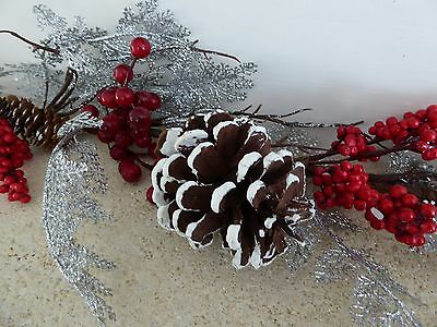1m Silver And Red Berry Cone Artificial Christmas Garland Indoor Xmas Decoration