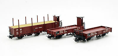 LILIPUT HOe GAUGE RAKE OF 3 ASSORTED DR FREIGHT WAGONS (T3)