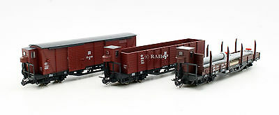ROCO HOe GAUGE RAKE OF 3 ASSORTED DR / OBB FREIGHT WAGONS (T3)