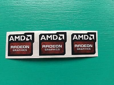 3x AMD Radeon Graphics Sticker 16.5 x 19.5mm Case Badge New Version USA Seller