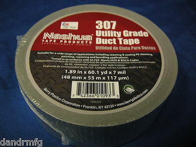 """NEW NASHUA 307 UTILITY GRADE DUCT TAPE SILVER 1.89"""" x 60.1yd X 7 MIL MADE IN USA"""