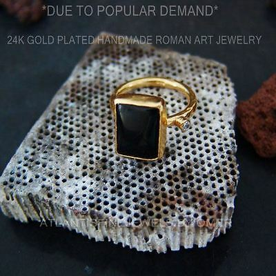 Black Onyx Handmade Ring With Topaz 24K Gold Over Sterling Silver By Omer
