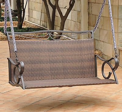 Antique Brown Resin Wicker Patio Porch Swing Outdoor Home Furniture