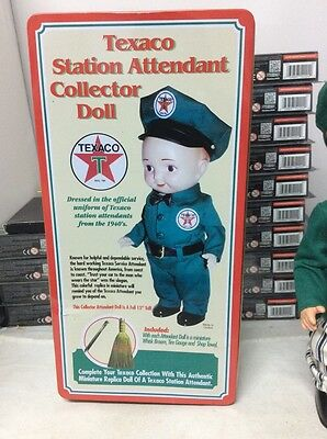 Texaco Station Attendant Collector Doll In Original Tin