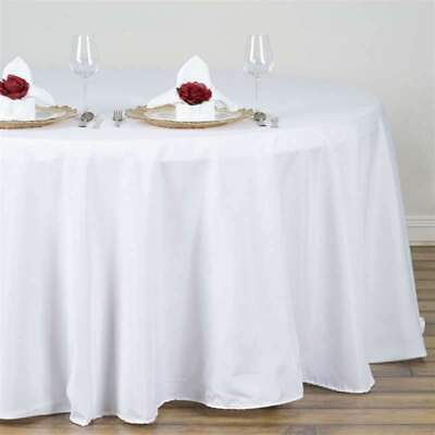 5 Pk 132 in. Poly Round Seamless Tablecloth Wedding Party Banquet Restaurant