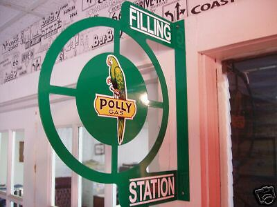Polly Gas 1950S Era  Wall Mount Flange Advertising Sign