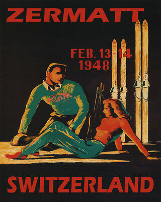 Poster 1948 Winter Sport Zermatt Switzerland Skiing Couple Vintage Repro Free Sh