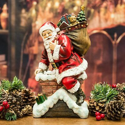Santa Claus / Father Christmas In Chimney Figurine (28cm)