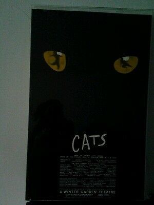 """CATS BROADWAY THEATER WINDOW CARD POSTER 1981 NEW YORK HTF VINTAGE 22"""" x 14"""""""