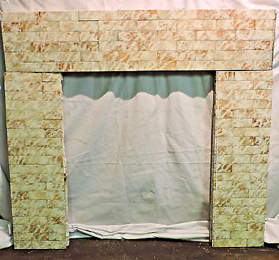 Complete Set (125) Fireplace Surround Antique Mottled Brown Cream Majolica Tile