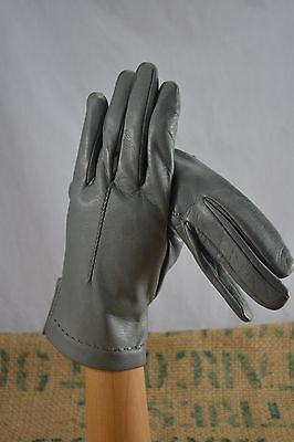 VINTAGE grey leather gloves size 7.5 1960s
