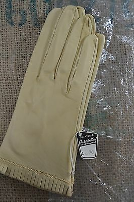 VINTAGE Spanish cream kid leather gloves size 8 1960s NEW AND UNUSED light tan