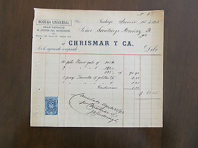 1895 - Chile - Old Invoice - Bodega Universal - Chrismar Y Ca.