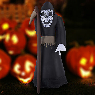 8FT Giant Halloween Inflatable Black Ghost Sickle Decoration Lighted Yard/Indoor