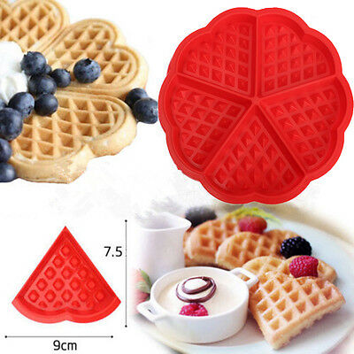 Cute Heart Waffle Cake Chocolate Pan Silicone Mold Baking Mould Muffin Cookie CN