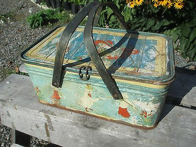 Vintage Metal Picnic Basket - Nursery Rhymes Theme - Shabby Distressed - Usuable
