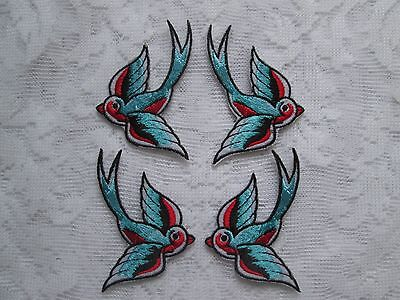 2Pr (4) Gorgeous Iron On Fabric Embroidered Swallows Mirror Image Patch