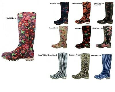 Women Unlined Assorted Print Rubber Rain Boots  6 7 8 9 10 11