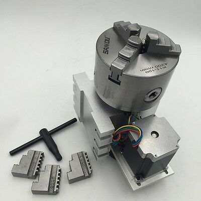 4th A Axis Rotary Table Nema23 6:1 Stepper Motor 3Jaw 80mm Chuck Rotational Axis
