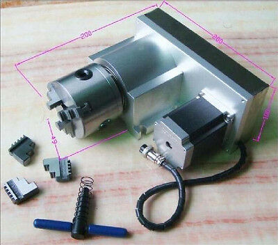 F Style Shaft Rotary Axis 4th four A Axis Ratio 8:1 3-Jaw 80MM Chuck CNC Router