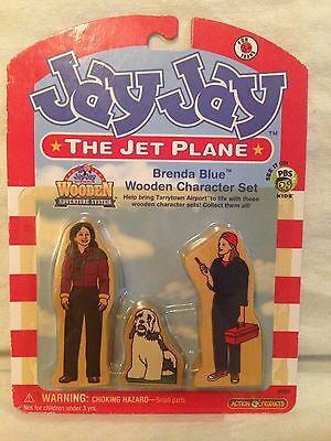 Jay Jay the Jet Plane - Brenda Blue Wooden Character Set. New Old Stock. 2004