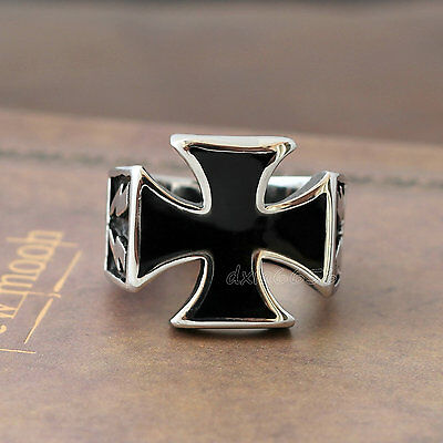 Men's Silver Black Knights Templar Iron Cross Pattee Stainless Steel Biker Ring