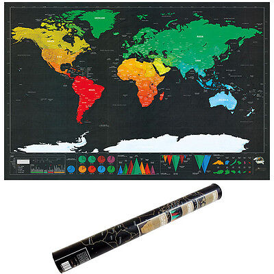 32 Inch Deluxe Edition Scratch Off World Map Poster Personalized Interest Travel