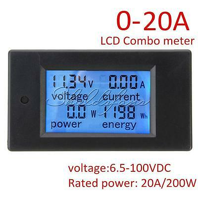 DC Battery 6.5-100V 20A LCD Voltage Current KWh Watt Power Monitor Combo Meter
