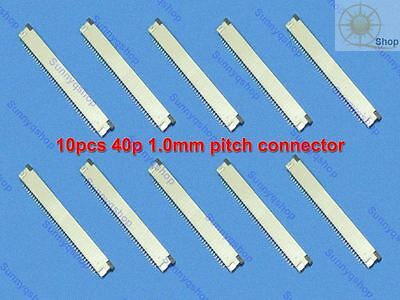 10 Pcs FFC/FPC Flexible Flat Cable Connector 40 Pin 1.0mm Pitch top contact