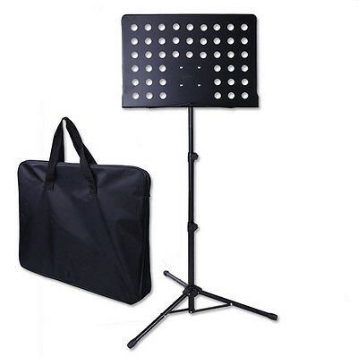 PB Adjustable-Height Heavy Duty sheet Music Stand Folding Tripod Big Plate Black