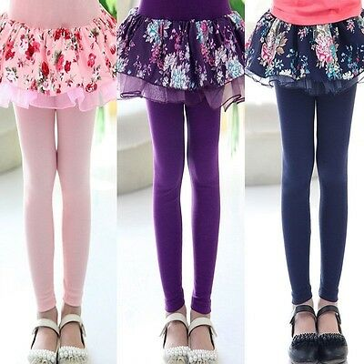 New Kids Girls Flower Floral Skirt-Pants Leggings Pants Cake Skirt Tutu Trousers
