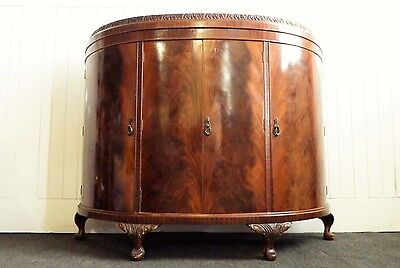 Antique style HIGH QUALITY large carved bow front cocktail drinks side cabinet