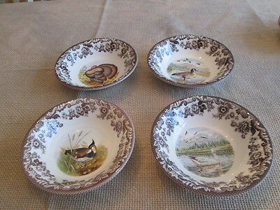 "New Set of 4  Spode Woodland Birds Dishes / Bowls 8"" WIDE"