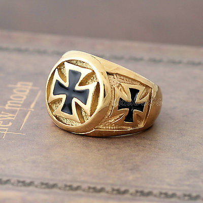 Men's Gold Black Enamel Knights Templar Iron Cross Pattee Stainless Steel Ring