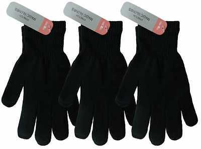 Children Boys Girls Black Winter Gloves School Christmas Gift 1 3 6 or lot of 12