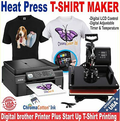 Brother Printer Plus Heat Press T-Shirt Maker Machine Complete Starter Pack
