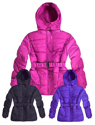 Girls Fur Lined Winter Coat New Kids Hooded Padded Puffa Jacket Ages 4-14 Years