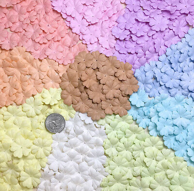 100 Mixed Pastel Heart Flower Scrapbook Crafts Mulberry Paper Cards Wedding 26mm