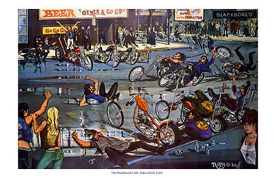 Dave Mann Ed Roth Studios Print Poster Motorcycle Blackboard Cafe Chopper