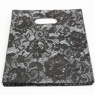 100pcs black Lace Plastic Bags Jewelry Gift Bag, Jewelry Pouches  20X25cm