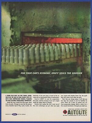 Vintage 1962 AUTOLITE Spark Plugs Gas Station Racing Garage Decor Print Ad 60's