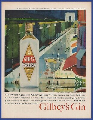 Vintage 1961 GILBEY'S GIN Alcohol Restaurant Bar Art Decor Print Ad 60's