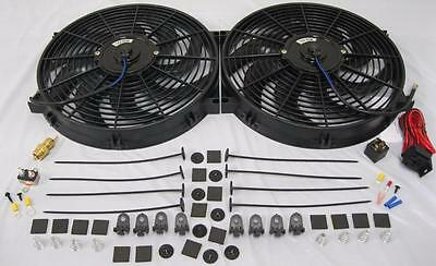 """Dual 14"""" Universal Electric Radiator Cooling Fans w/ Thermostat & Mounting Kit"""