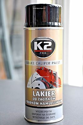 BLACK BRAKE CALIPER PAINT K2 High GLOSS TEMPERATURE Up To 260C CLAMP SPRAY 400ml
