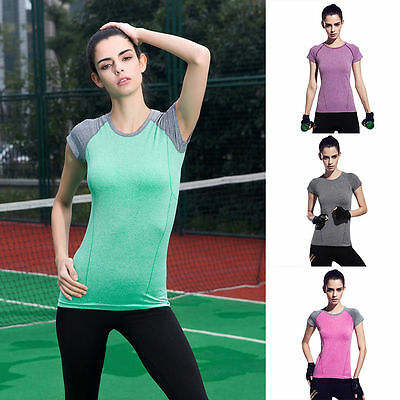 New Fashion Women Gym Sports Shirt Yoga Top Fitness Running T-shirt Activewear