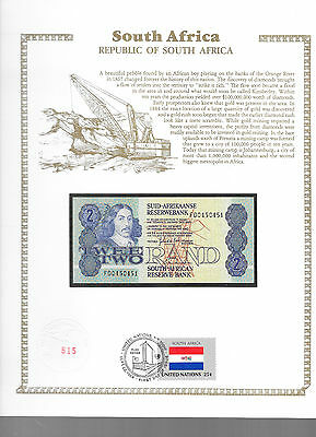 South Africa 1983 2 Rand P118d GEM UNC w/FDI UN FLAG STAMP FD0450451