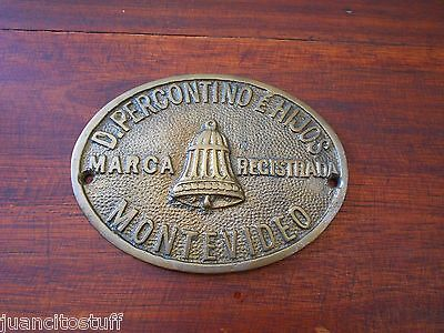 OLD AND RARE Uruguay PERCONTINO & SONS safe box plate BRONZE MADE